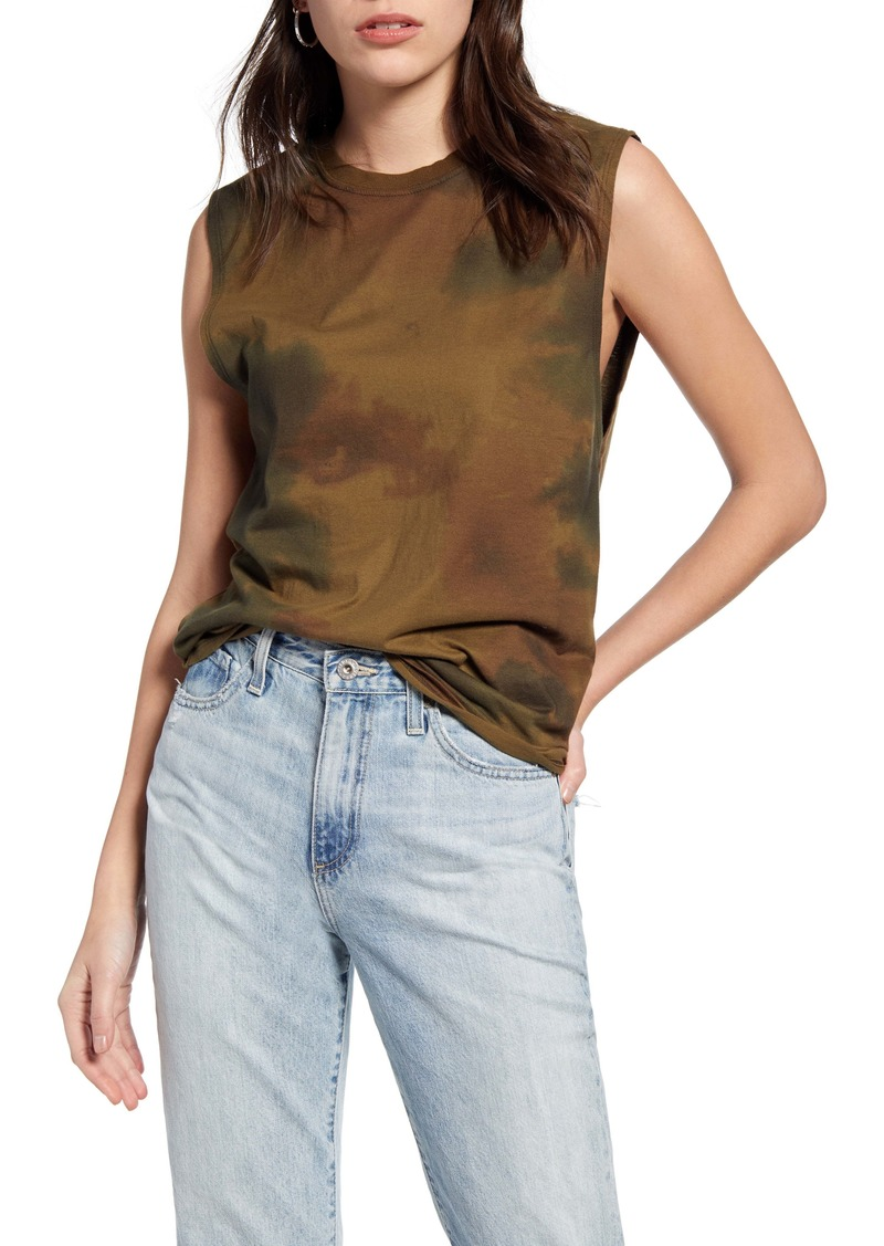 AG Adriano Goldschmied AG Zoey Watercolor Camo Print Stretch Cotton Muscle Tank