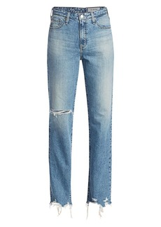 AG Adriano Goldschmied Alexxis Mid-Rise Straight-Leg Distressed Jeans