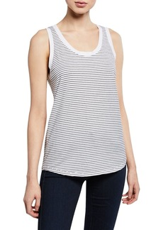 AG Adriano Goldschmied Cambria Striped Scoop-Neck Tank