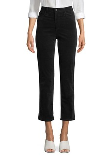 AG Adriano Goldschmied Isabelle Velvet High-Rise Straight Crop Pants