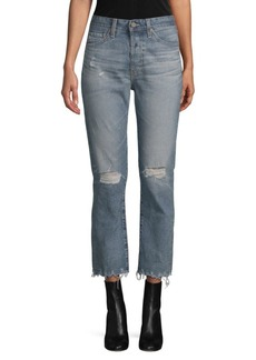 AG Adriano Goldschmied Distressed Straight-Leg Cropped Jeans