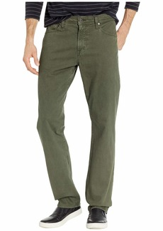 AG Adriano Goldschmied Everett Slim Straight SUD Sueded Stretch Sateen in Sulfur Ash Green