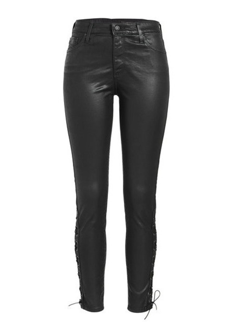 AG Adriano Goldschmied Farrah Ankle Side Lace-Up Faux Leather Pants