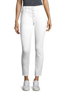Farrah High-Rise Button-Fly Ankle Skinny Jeans