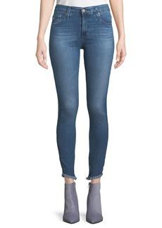 AG Adriano Goldschmied Farrah High-Rise Skinny Jeans w/ Fringe Hem