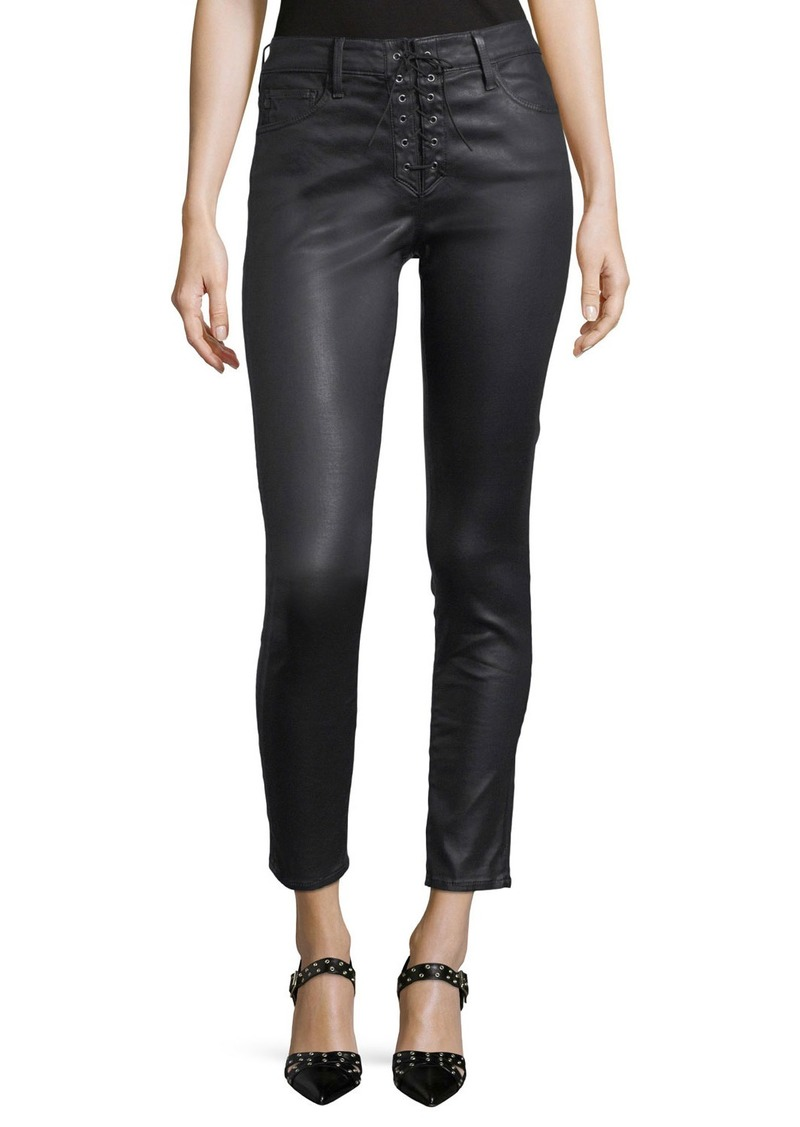 AG Adriano Goldschmied Farrah Lace-Up High-Rise Skinny Ankle Pants