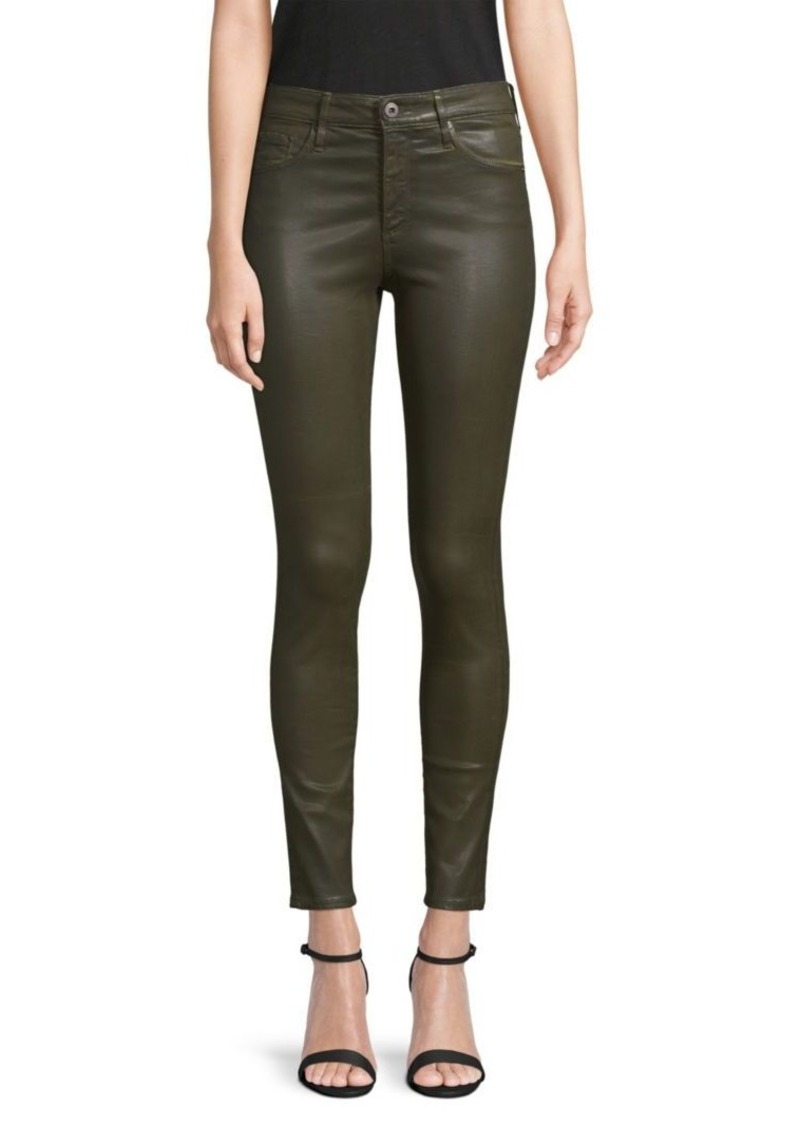 AG Adriano Goldschmied Farrah Skinny Ankle High-Rise Leatherette Jeans