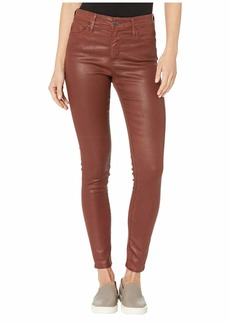 AG Adriano Goldschmied Farrah Skinny Ankle in Vintage Leatherette Light Rich Crimson