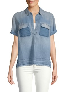 AG Adriano Goldschmied Fringe Short-Sleeve Top