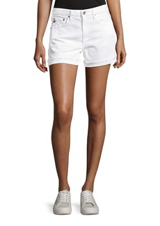 AG Adriano Goldschmied Hailey Mid-Rise Denim Jeans Shorts  White