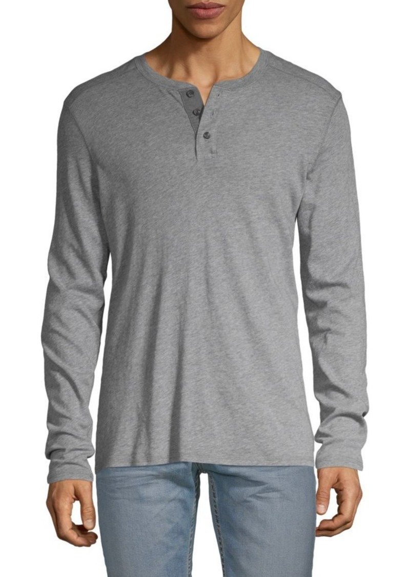 AG Adriano Goldschmied Heathered Cotton & Cashmere-Blend Henley