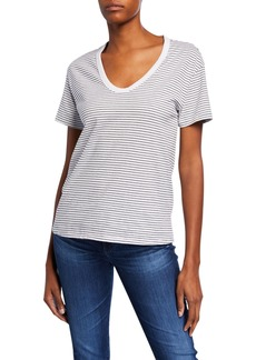 AG Adriano Goldschmied Henson Striped Scoop-Neck Short-Sleeve T-Shirt