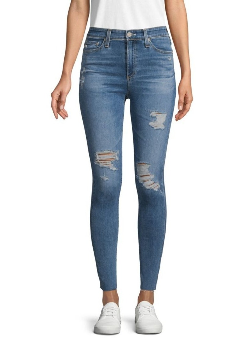 AG Adriano Goldschmied High-Rise Ripped Super Skinny Ankle Jeans