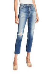AG Adriano Goldschmied High-Rise Tapered Rip Jeans