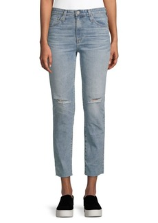 AG Adriano Goldschmied Isabelle Distressed Straight Cropped Jeans