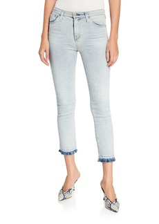 AG Adriano Goldschmied Isabelle High-Rise Straight Cropped Fringed Jeans