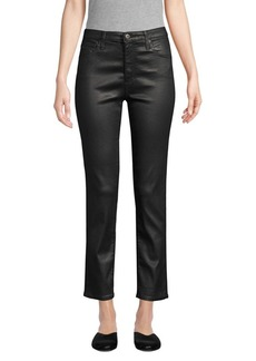 AG Adriano Goldschmied Isabelle Leatherette High-Rise Straight Crop Jeans