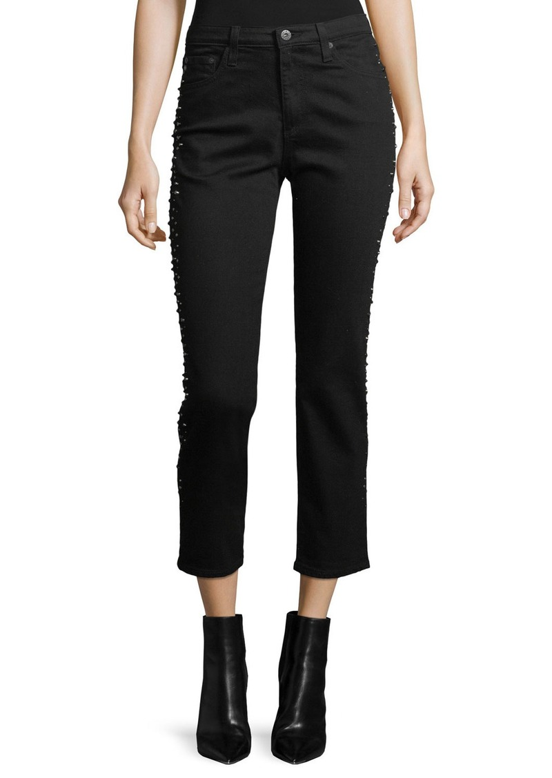 AG Adriano Goldschmied Isabelle Straight-Leg Cropped Jeans with Studded Trim