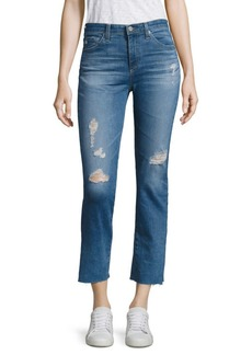 Jodi Distressed Medium Wash Cropped Flare Jeans
