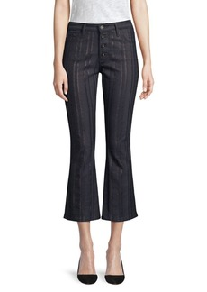 AG Adriano Goldschmied Jodi Metallic Slim-Fit High-Rise Crop Flare Jeans