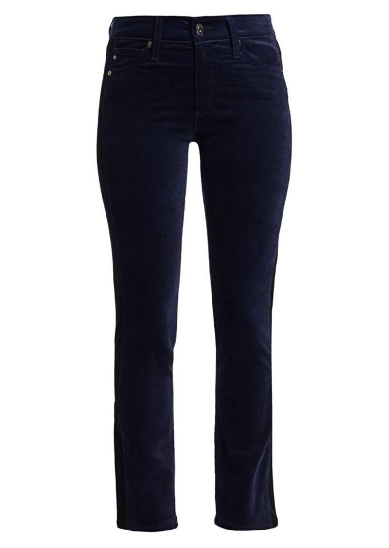 AG Adriano Goldschmied Mari High-Rise Velvet Slim-Fit Pants