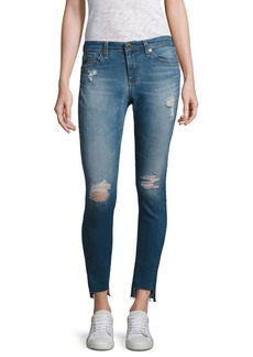 Middi Distressed Step Hem Ankle Skinny Jeans