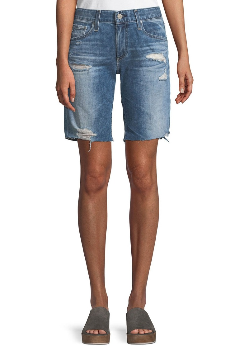 AG Adriano Goldschmied Nikki Distressed Relaxed Skinny Shorts