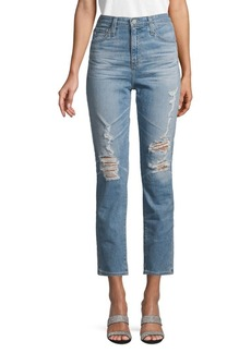 AG Adriano Goldschmied Pheobe Distressed High-Waisted Tapered-Leg Jeans