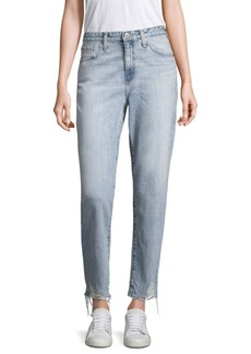 AG Adriano Goldschmied Phoebe Cropped Distressed Straight-Leg Jeans