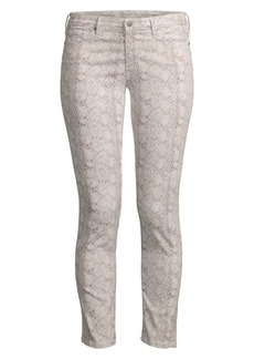 AG Adriano Goldschmied Prima Ankle Mid-Rise Cigarette Snake Print Jeans