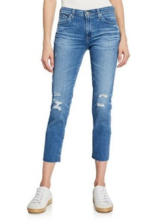 AG Adriano Goldschmied Prima Mid-Rise Cropped Skinny Jeans - 16 Yrs Destructed