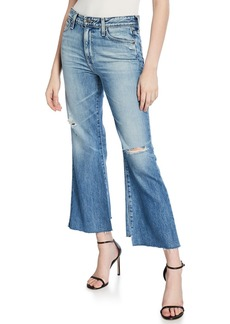 AG Adriano Goldschmied Quinne Cropped High-Rise Distressed Jeans