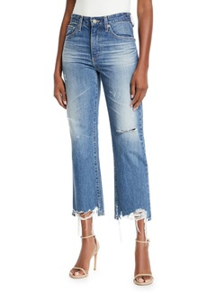 AG Adriano Goldschmied Rhett Distressed High-Rise Straight-Leg Jeans