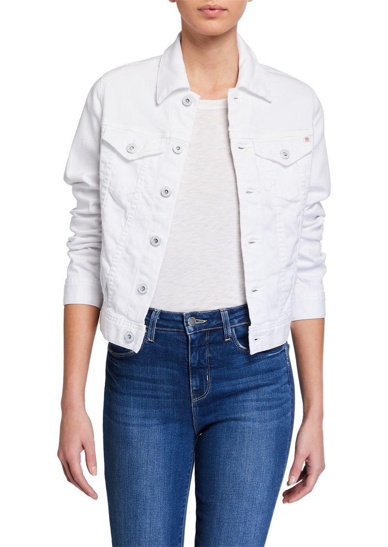 AG Adriano Goldschmied Robyn Button-Front Denim Jacket  True White