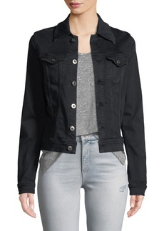 AG Adriano Goldschmied Robyn Button-Front Fitted Cropped Denim Jacket