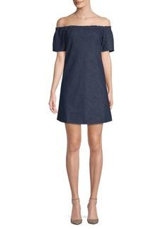 Short-Sleeve Cotton Off-The-Shoulder Dress