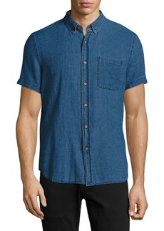 AG Adriano Goldschmied Short-Sleeve Denim Shirt