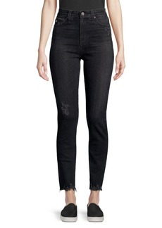 AG Adriano Goldschmied Sophia High-Rise Washed Straight-Leg Jeans