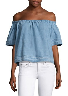 AG Adriano Goldschmied Sylvia Off-The-Shoulder Chambray Top