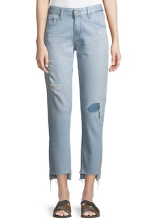 AG Adriano Goldschmied The Ex-Boyfriend Distressed Tapered Mid-Rise Jeans