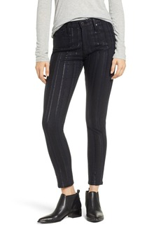 AG Adriano Goldschmied The Farrah High Waist Ankle Skinny Jeans (Gunmetal Metallic Stripe)