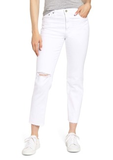 AG Adriano Goldschmied The Isabelle Ripped High Waist Ankle Straight Leg Jeans (1 Year Obscure White)