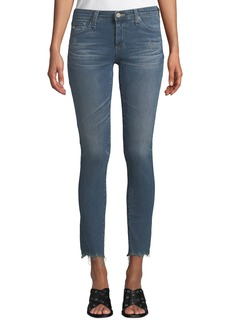 AG Adriano Goldschmied The Legging Super Skinny Ankle Jeans w/ Chewed Hem