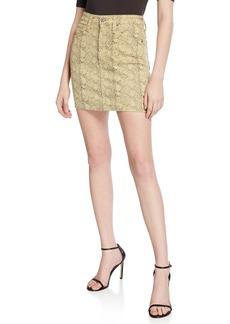 AG Adriano Goldschmied Vera Python-Print Denim Mini Skirt