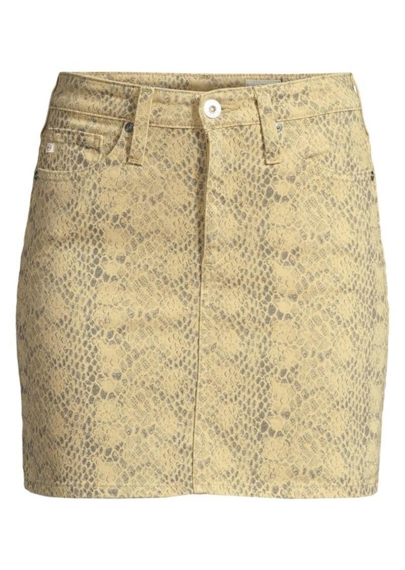 AG Adriano Goldschmied Vera Python Print Denim Skirt