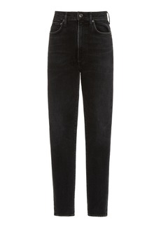 Agolde - Women's Pinch-Waist Stretch High-Rise Skinny Jeans - Grey - Moda Operandi