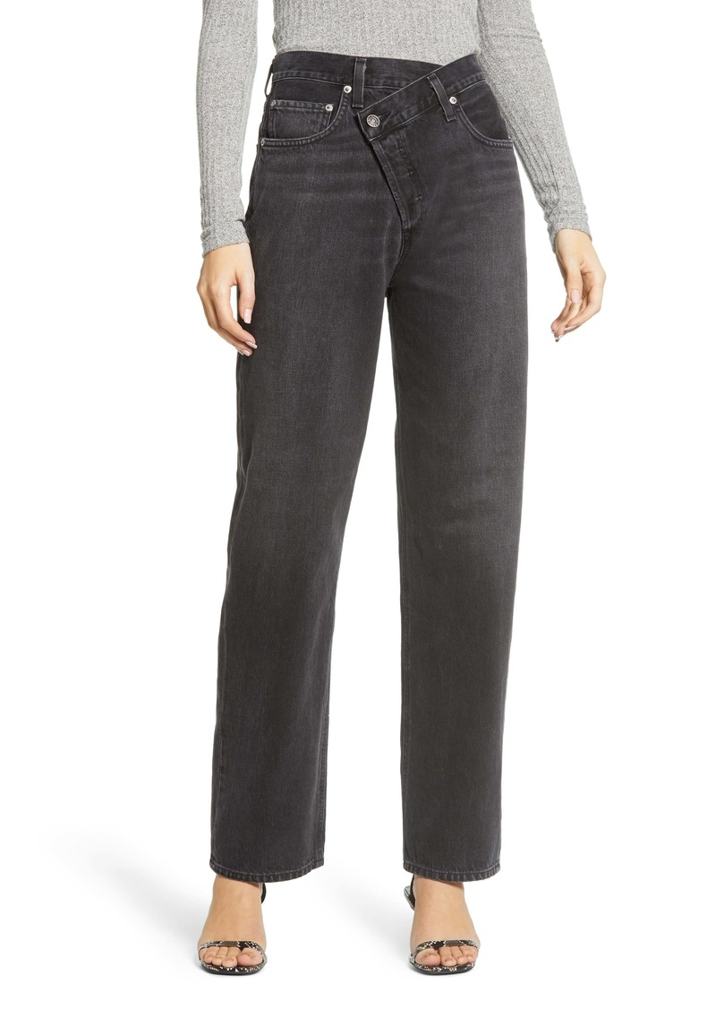 AGOLDE Criss Cross Upsize High Waist Nonstretch Jeans (Savage)