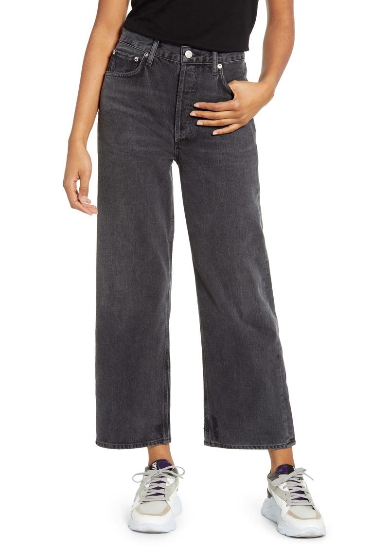 AGOLDE Ren High Waist Crop Wide Leg Jeans (Grey Smoke)