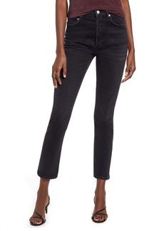 AGOLDE Riley High Waist Crop Straight Leg Jeans (Black Pepper)