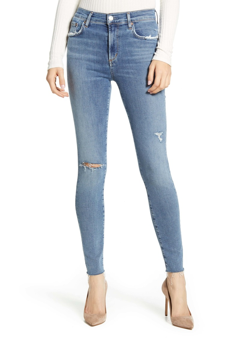 AGOLDE Sophie High Waist Ripped Raw Hem Ankle Skinny Jeans (Pentacle)
